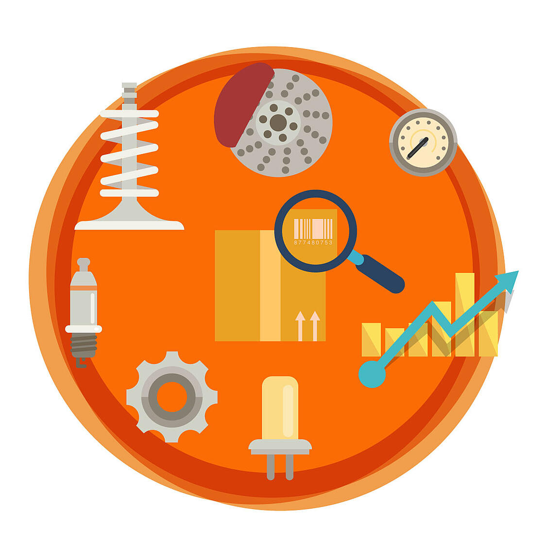 Various images of automotive parts, packing boxes, and sales analytics arranged inside of an orange circular background