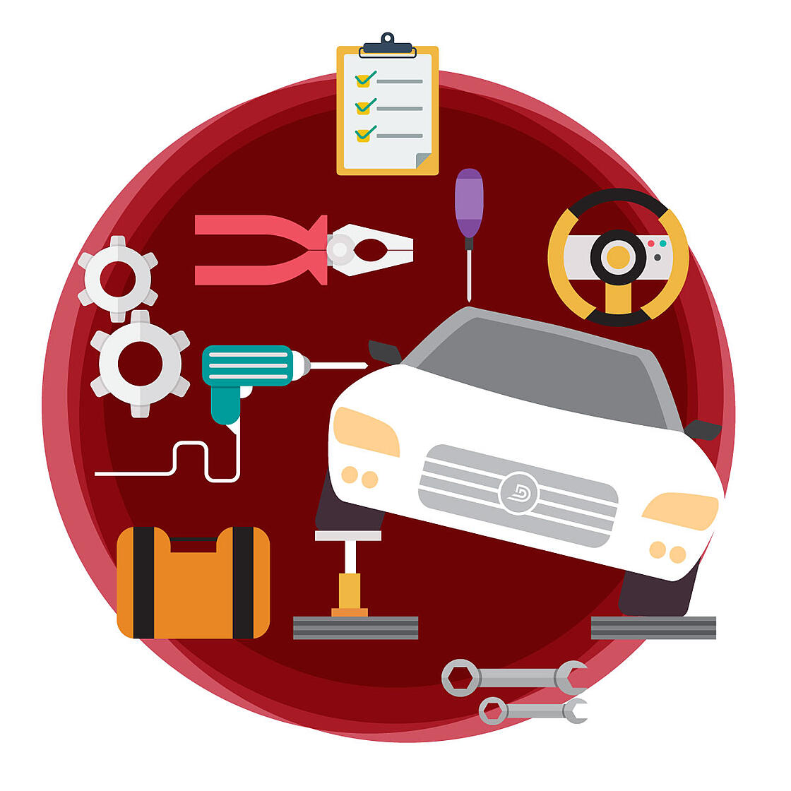 animated image of a car at the service department. Service CRM icons surround the car against a red circular background