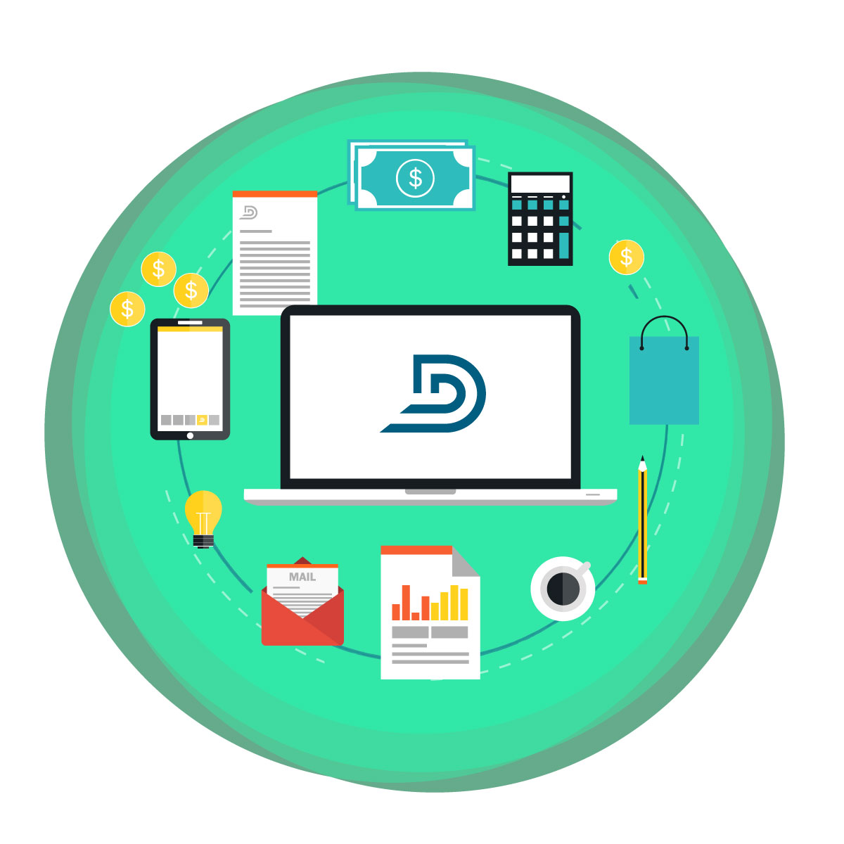 DealerTeam logo on laptop screen with office supplies, documents and other business icons inside and green circular background